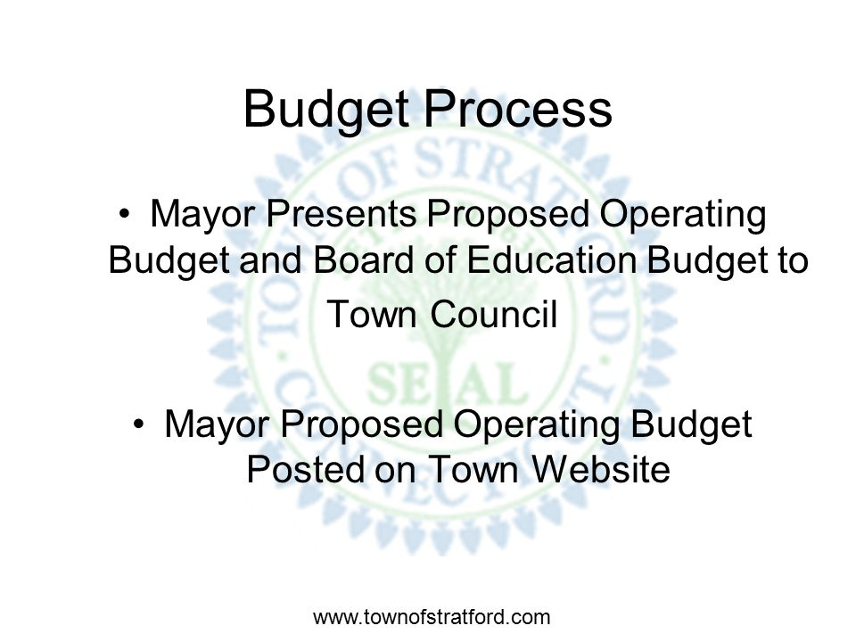 www.townofstratford.com Budget Process Mayor, CAO and Finance Director meet with various Town Departments to develop FY 09 Proposed Operating Budget.