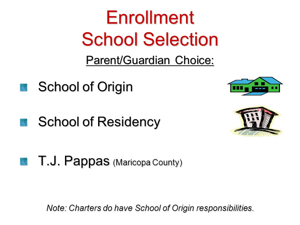 Enrollment School Selection Parent/Guardian Choice: School of Origin School of Residency T.J. Pappas (Maricopa County) Note: Charters do have School o