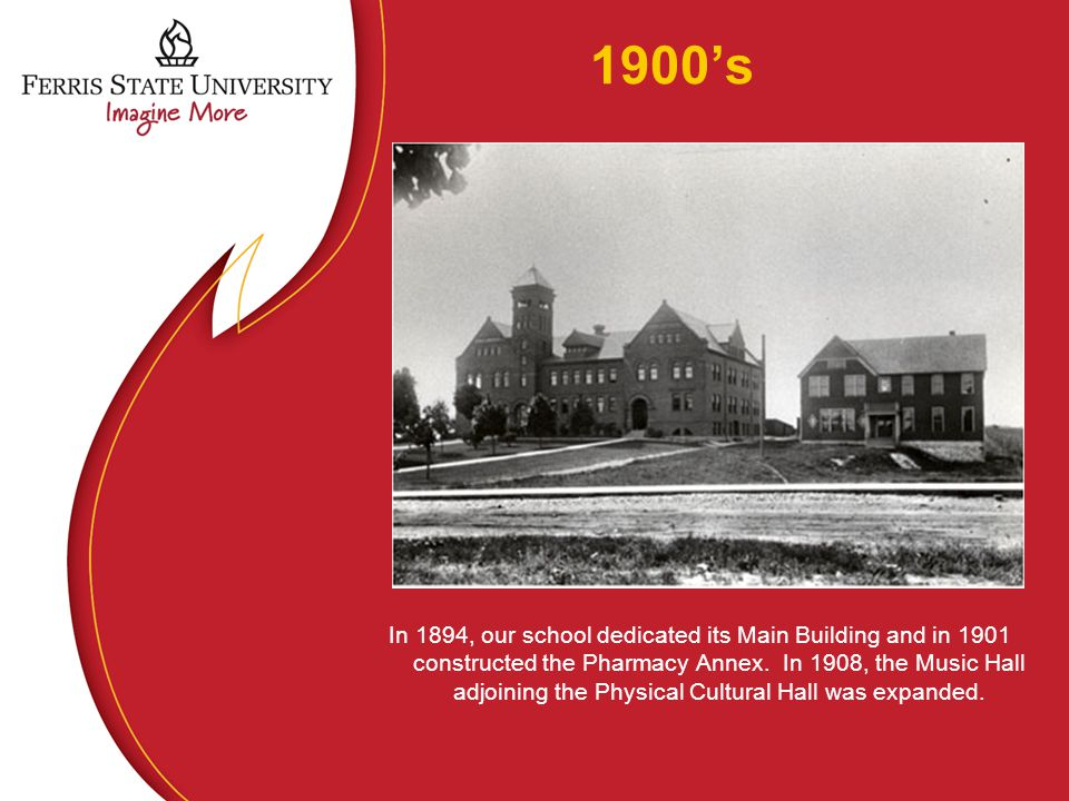 1900's In 1894, our school dedicated its Main Building and in 1901 constructed the Pharmacy Annex.