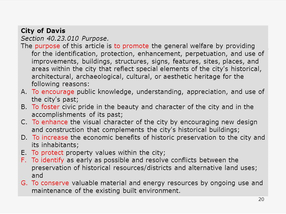 20 City of Davis Section 40.23.010 Purpose.
