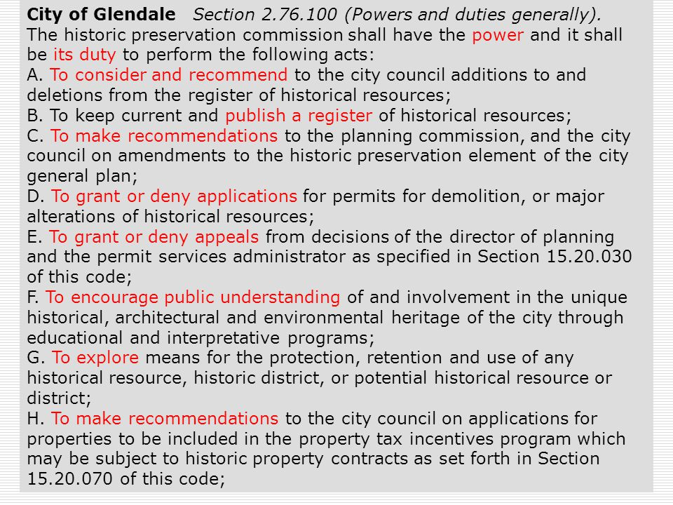 26 City of Glendale Section 2.76.100 (Powers and duties generally).
