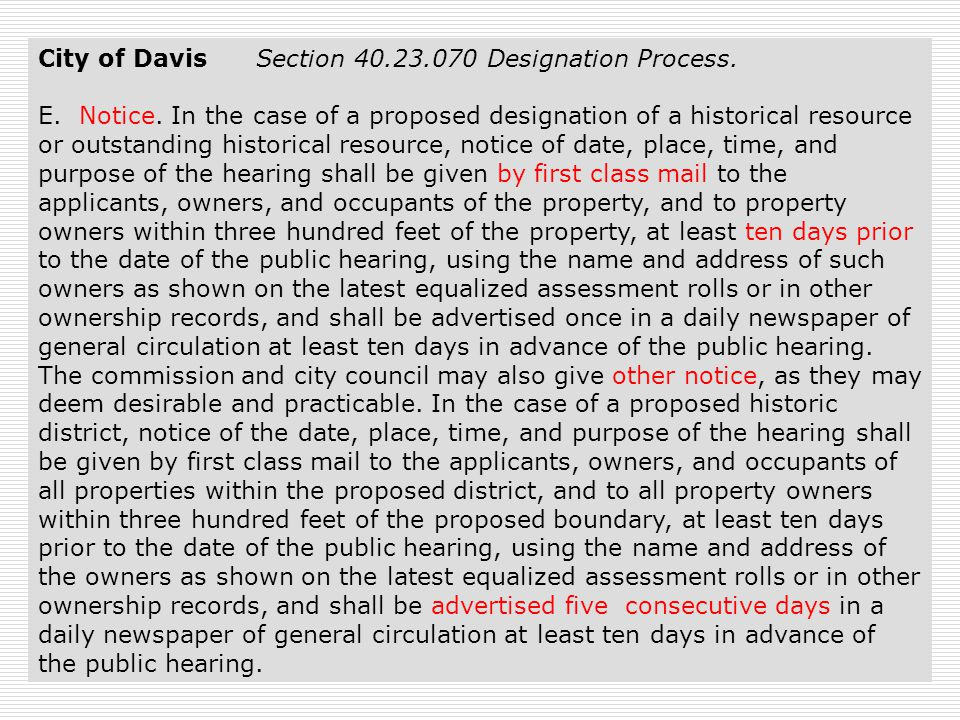 35 City of Davis Section 40.23.070 Designation Process.