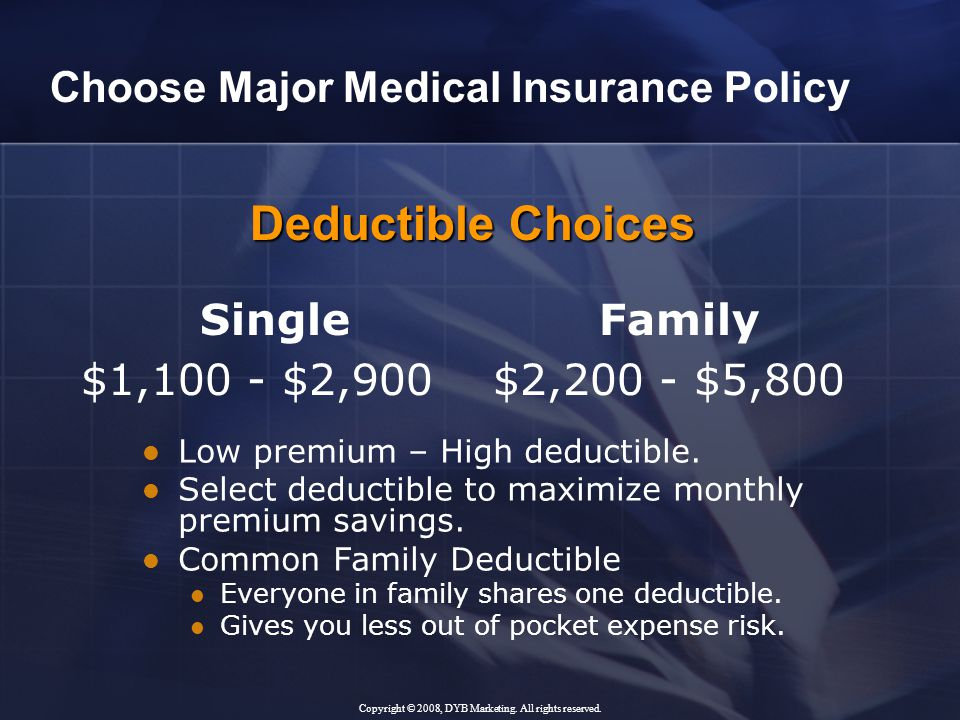 Single Family $1,100 - $2,900 $2,200 - $5,800 Low premium – High deductible.