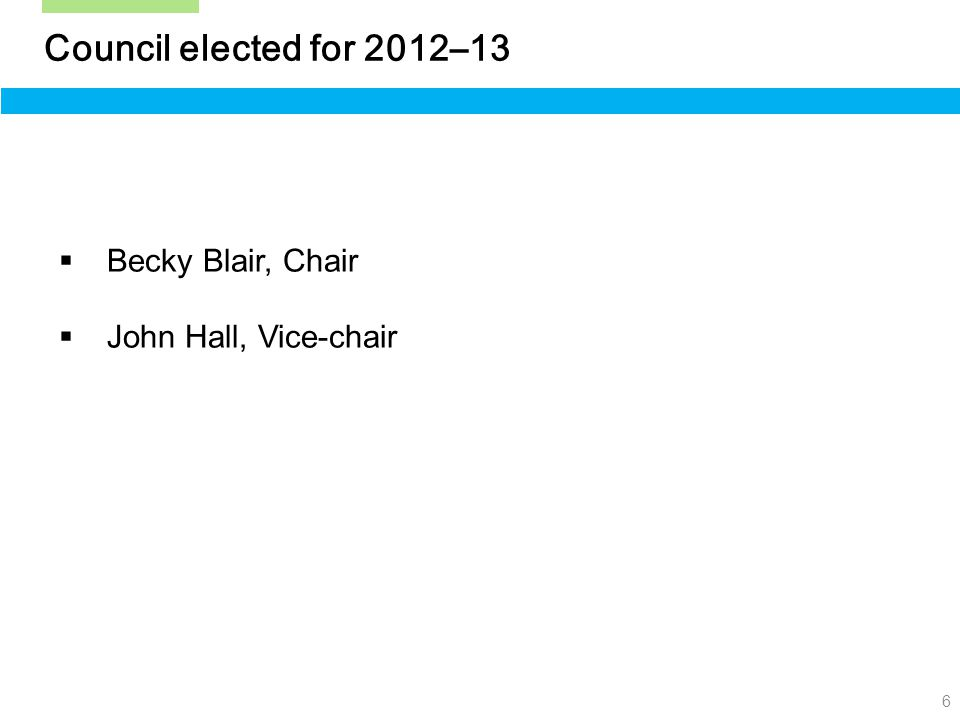 6 Council elected for 2012–13  Becky Blair, Chair  John Hall, Vice-chair