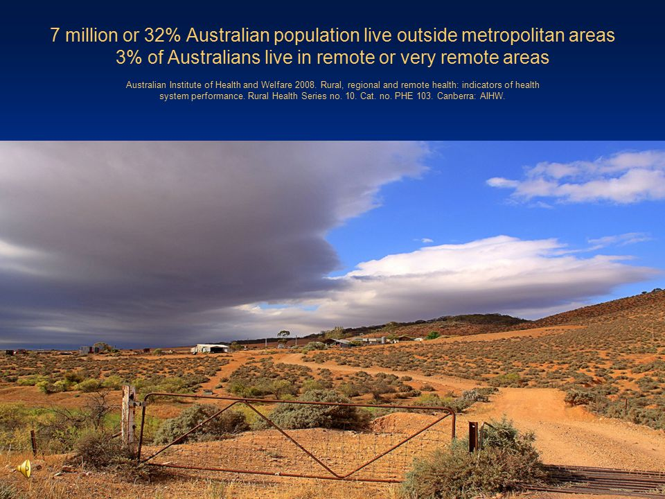 7 million or 32% Australian population live outside metropolitan areas 3% of Australians live in remote or very remote areas Australian Institute of H