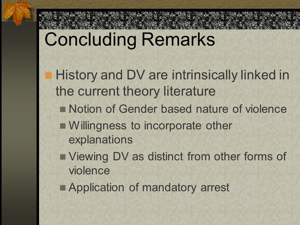 Concluding Remarks History and DV are intrinsically linked in the current theory literature Notion of Gender based nature of violence Willingness to incorporate other explanations Viewing DV as distinct from other forms of violence Application of mandatory arrest