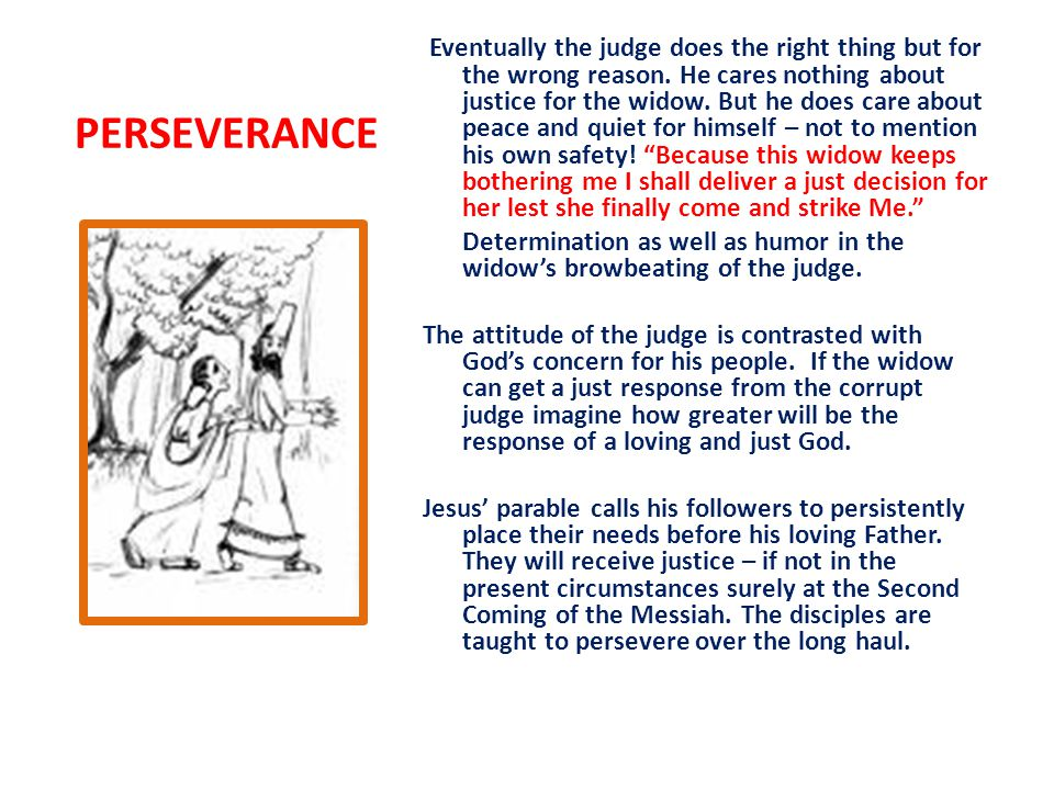 PERSEVERANCE Eventually the judge does the right thing but for the wrong reason.