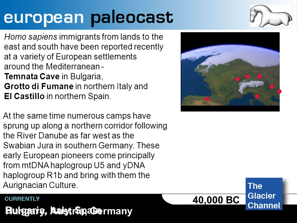 Europe 120,000 - 40,000 BC For more than 500,000 years the European climate has oscillated between cold and frigid, with periodic advances and retreats of the great northern glaciers.