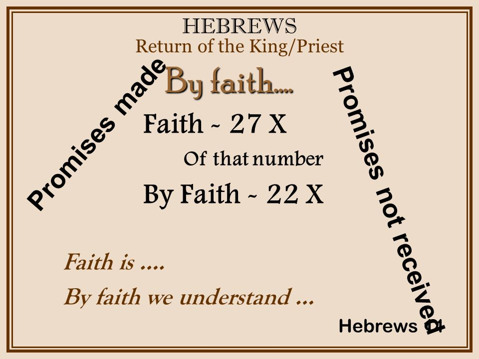 HEBREWS Return of the King/Priest Hebrews 11 Faith - 27 X Of that number By Faith - 22 X By faith….