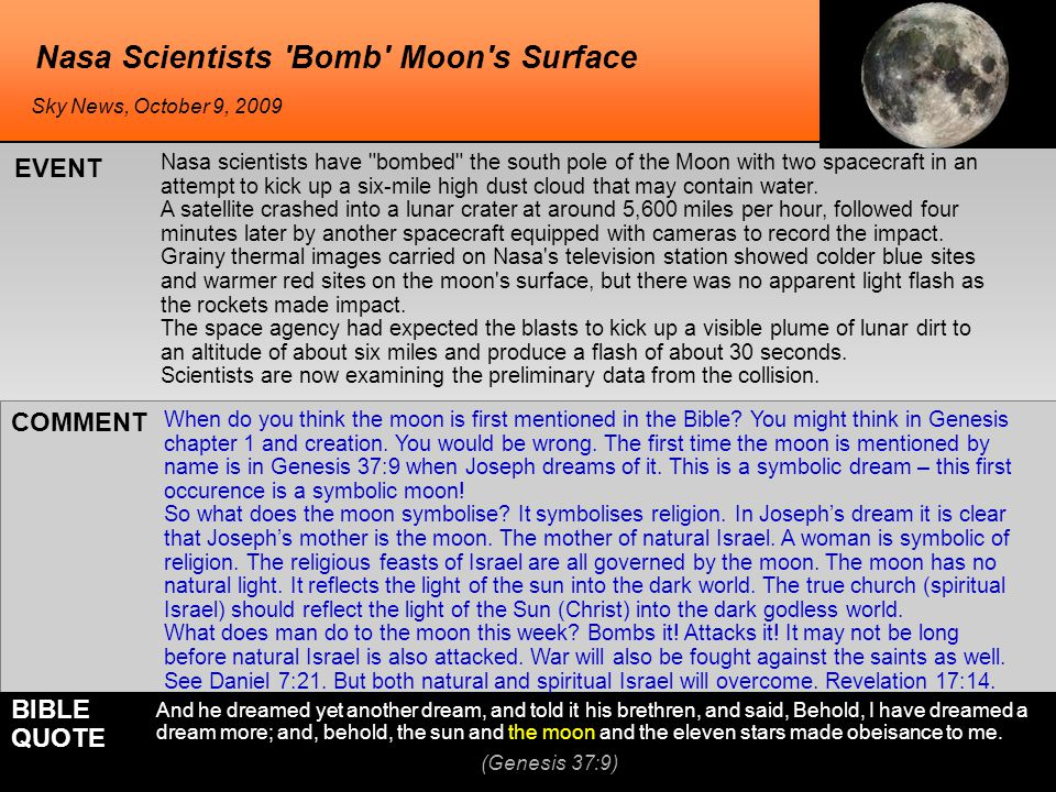 Nasa Scientists 'Bomb' Moon's Surface Nasa scientists have