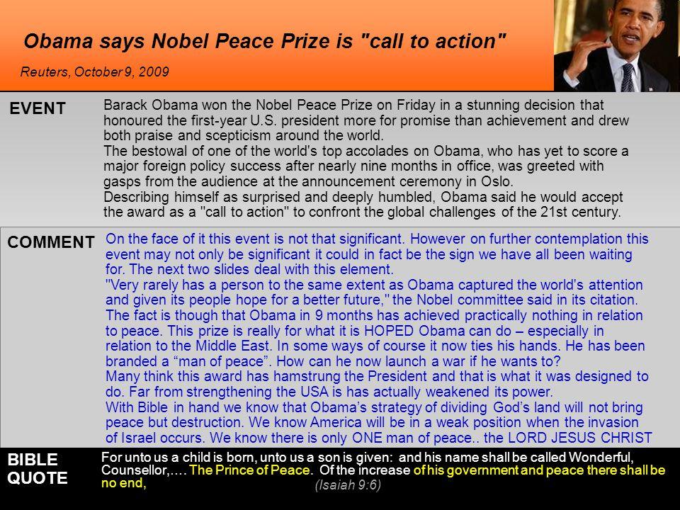 World reaction to Obama winning the Nobel Obama's statement after winning.