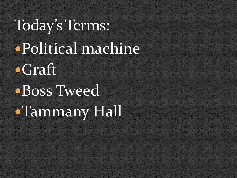 Political machine Graft Boss Tweed Tammany Hall