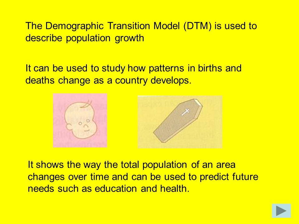 The Demographic Transition Model (DTM) is used to describe population growth It can be used to study how patterns in births and deaths change as a cou