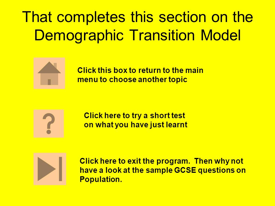 That completes this section on the Demographic Transition Model Click this box to return to the main menu to choose another topic Click here to exit t