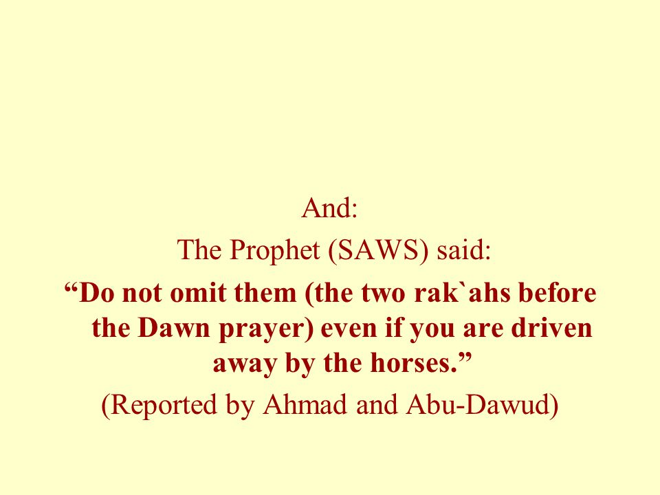And: The Prophet (SAWS) said: Do not omit them (the two rak`ahs before the Dawn prayer) even if you are driven away by the horses. (Reported by Ahmad and Abu-Dawud)