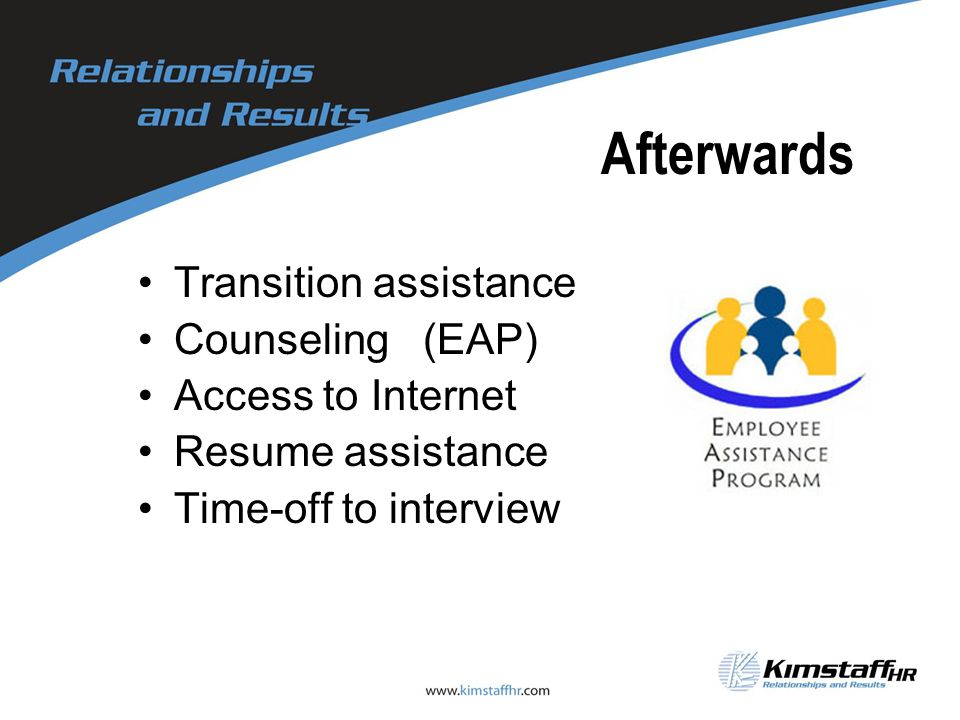 Afterwards Transition assistance Counseling (EAP) Access to Internet Resume assistance Time-off to interview