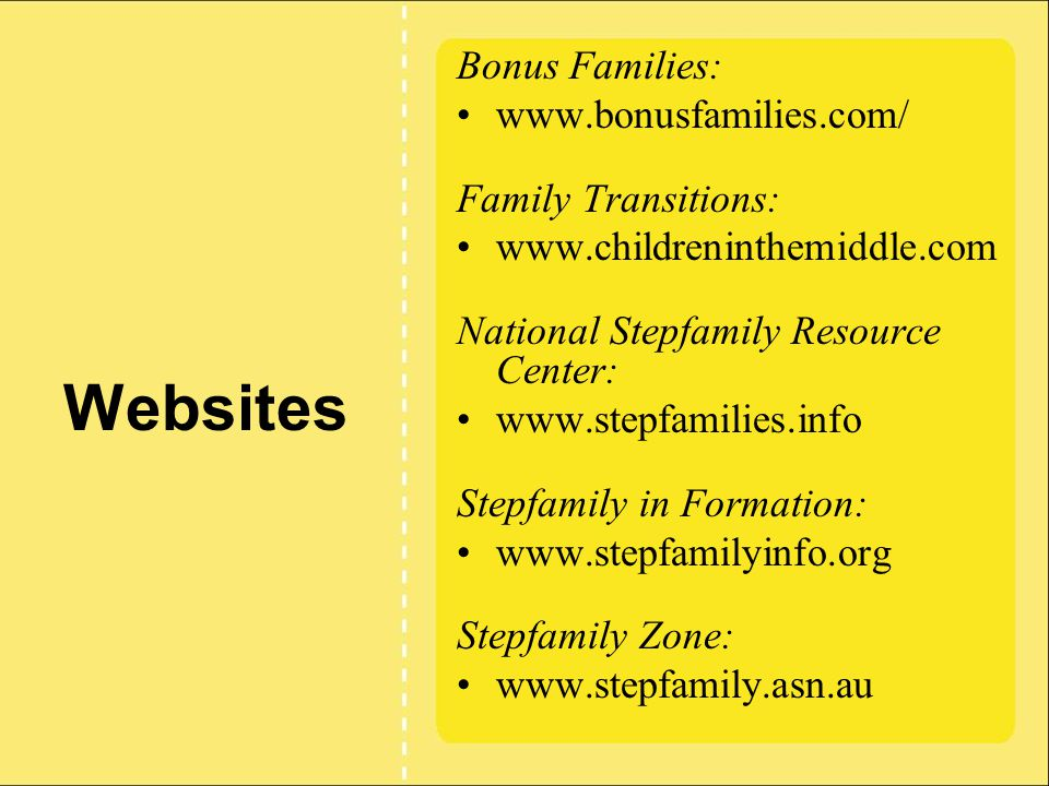 Websites Bonus Families: www.bonusfamilies.com/ Family Transitions: www.childreninthemiddle.com National Stepfamily Resource Center: www.stepfamilies.info Stepfamily in Formation: www.stepfamilyinfo.org Stepfamily Zone: www.stepfamily.asn.au