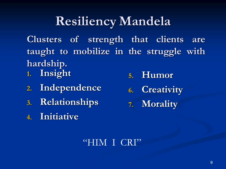 9 Resiliency Mandela 1. Insight 2. Independence 3.