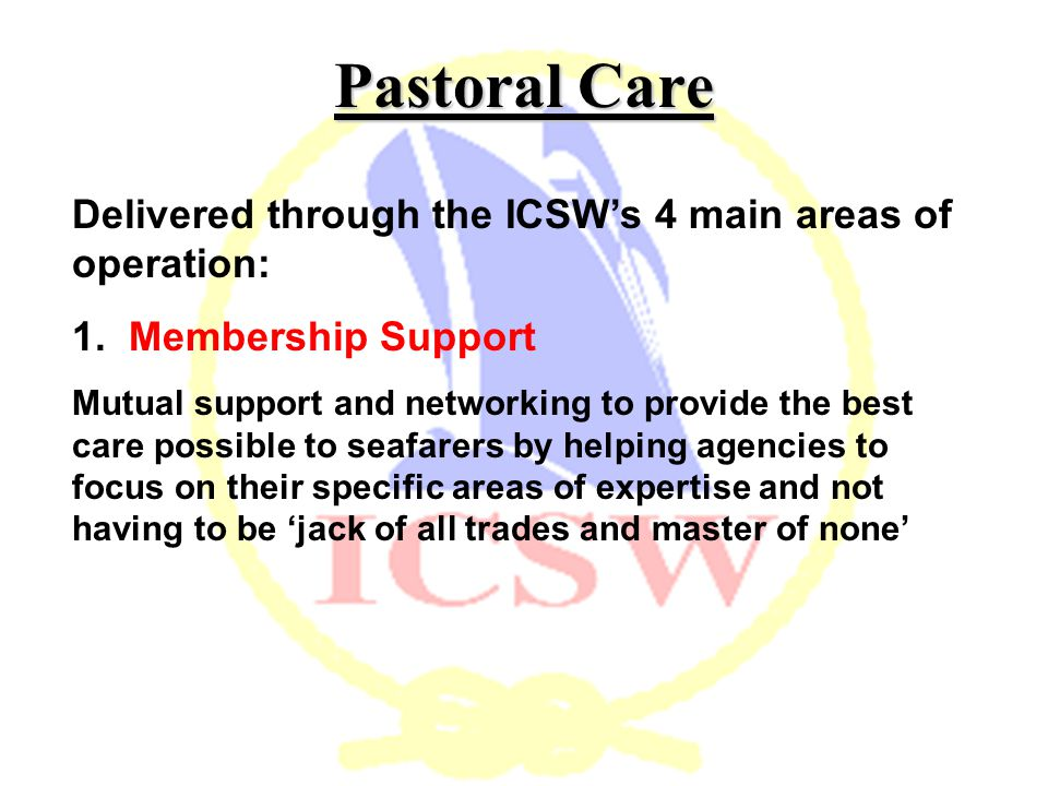 Pastoral Care Delivered through the ICSW's 4 main areas of operation: 1.