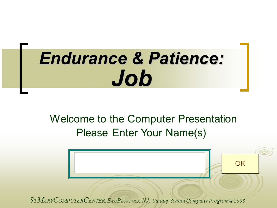 Endurance & Patience: Job Welcome to the Computer Presentation Please Enter Your Name(s) S T M ARY C OMPUTER C ENTER, E AST B RUNSWICK, NJ, Sunday School Computer Program© 2003 OK