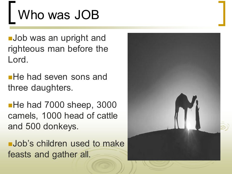 Who was JOB Job was an upright and righteous man before the Lord.