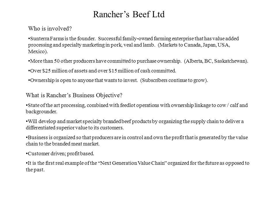 Rancher's Beef Ltd Who is involved. Sunterra Farms is the founder.