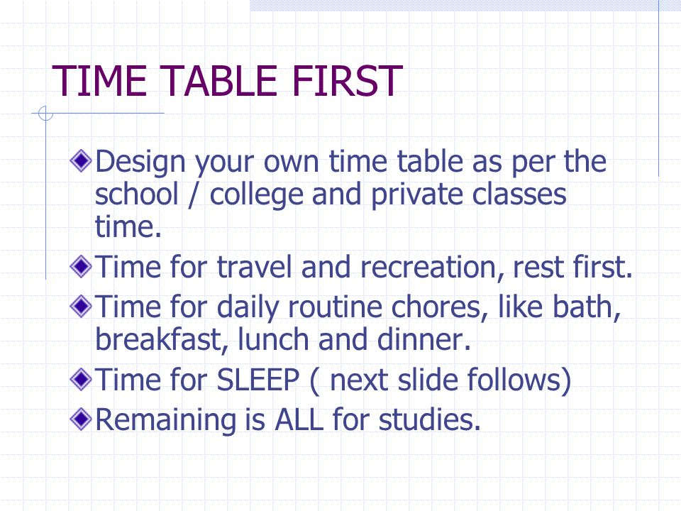 Divide your normal activities as listed above equally.