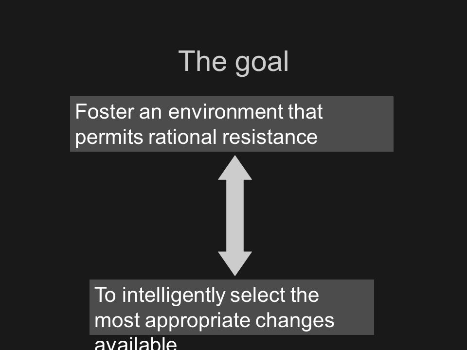 Foster an environment that permits rational resistance To intelligently select the most appropriate changes available The goal