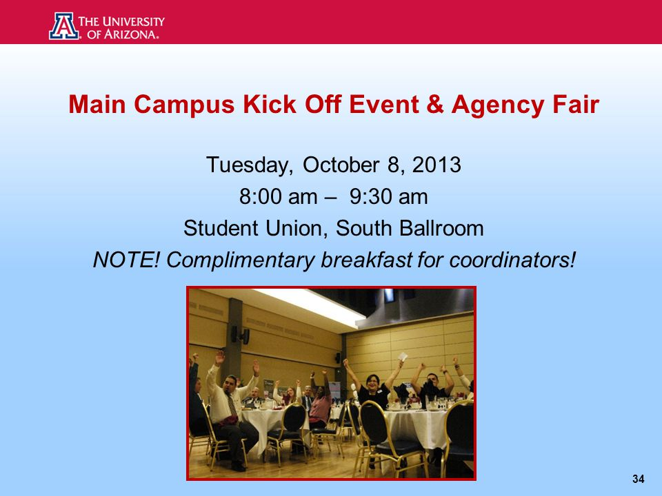 Main Campus Kick Off Event & Agency Fair Tuesday, October 8, 2013 8:00 am – 9:30 am Student Union, South Ballroom NOTE.