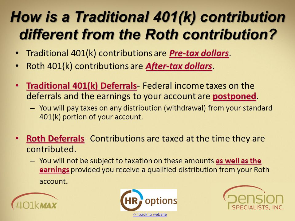 << back to website How is a Traditional 401(k) contribution different from the Roth contribution.