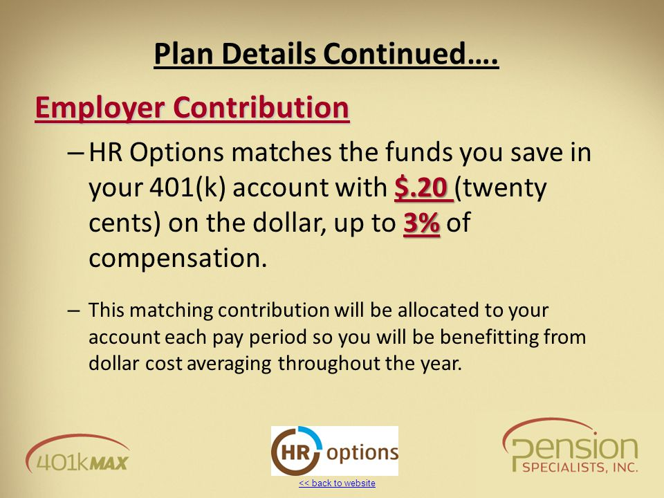<< back to website Plan Details Continued…. Employer Contribution $.20 3% – HR Options matches the funds you save in your 401(k) account with $.20 (tw