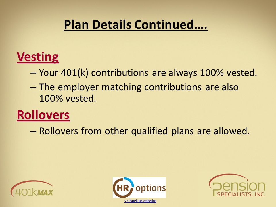 << back to website Plan Details Continued…. Vesting – Your 401(k) contributions are always 100% vested. – The employer matching contributions are also