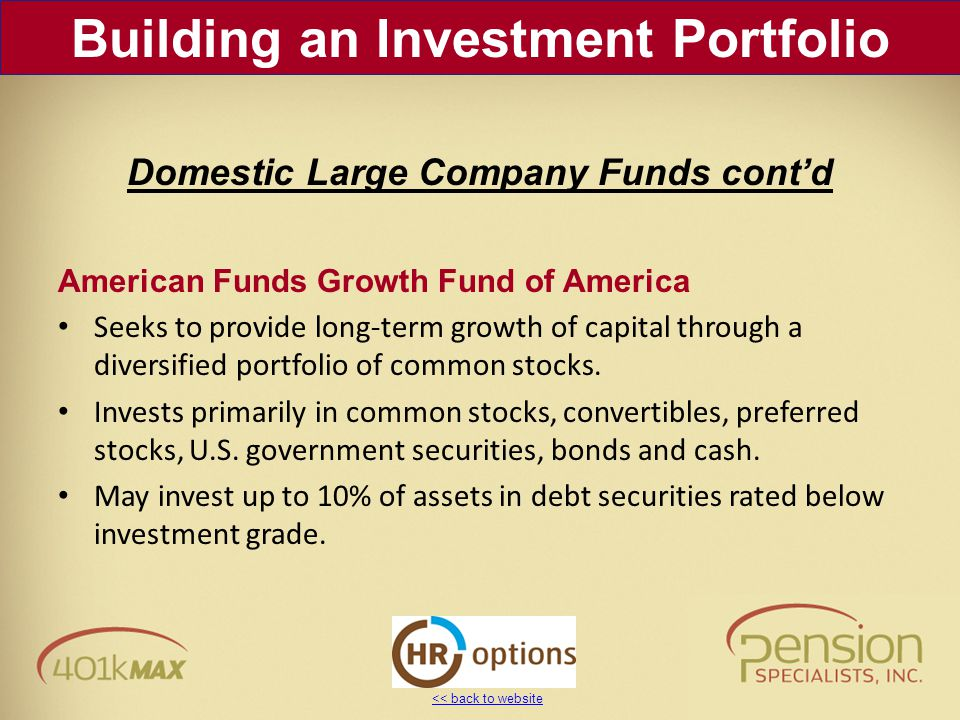 << back to website American Funds Growth Fund of America Seeks to provide long-term growth of capital through a diversified portfolio of common stocks