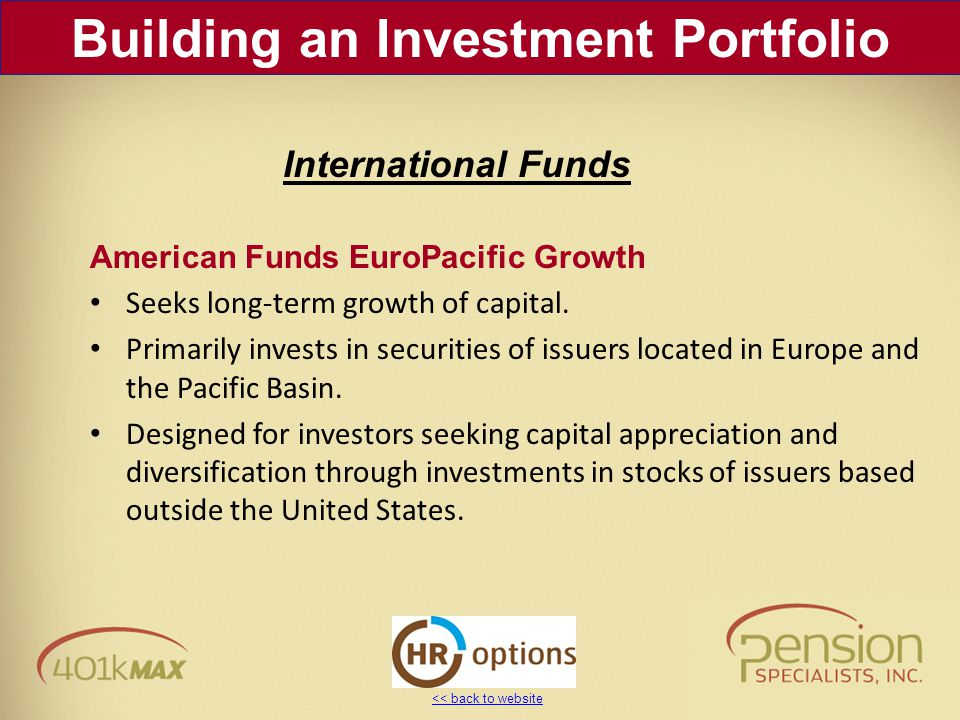 << back to website American Funds EuroPacific Growth Seeks long-term growth of capital.