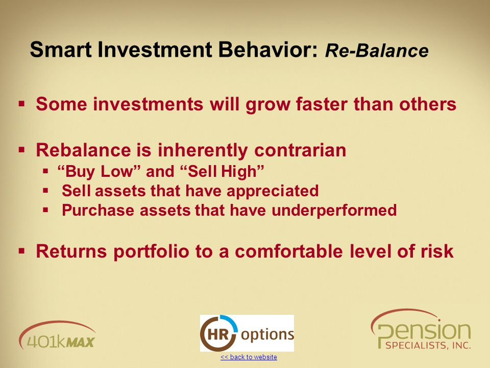<< back to website Smart Investment Behavior: Re-Balance  Some investments will grow faster than others  Rebalance is inherently contrarian  Buy Low and Sell High  Sell assets that have appreciated  Purchase assets that have underperformed  Returns portfolio to a comfortable level of risk