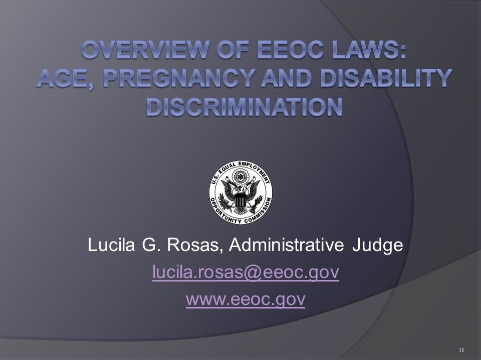 Lucila G. Rosas, Administrative Judge lucila.rosas@eeoc.gov www.eeoc.gov 18