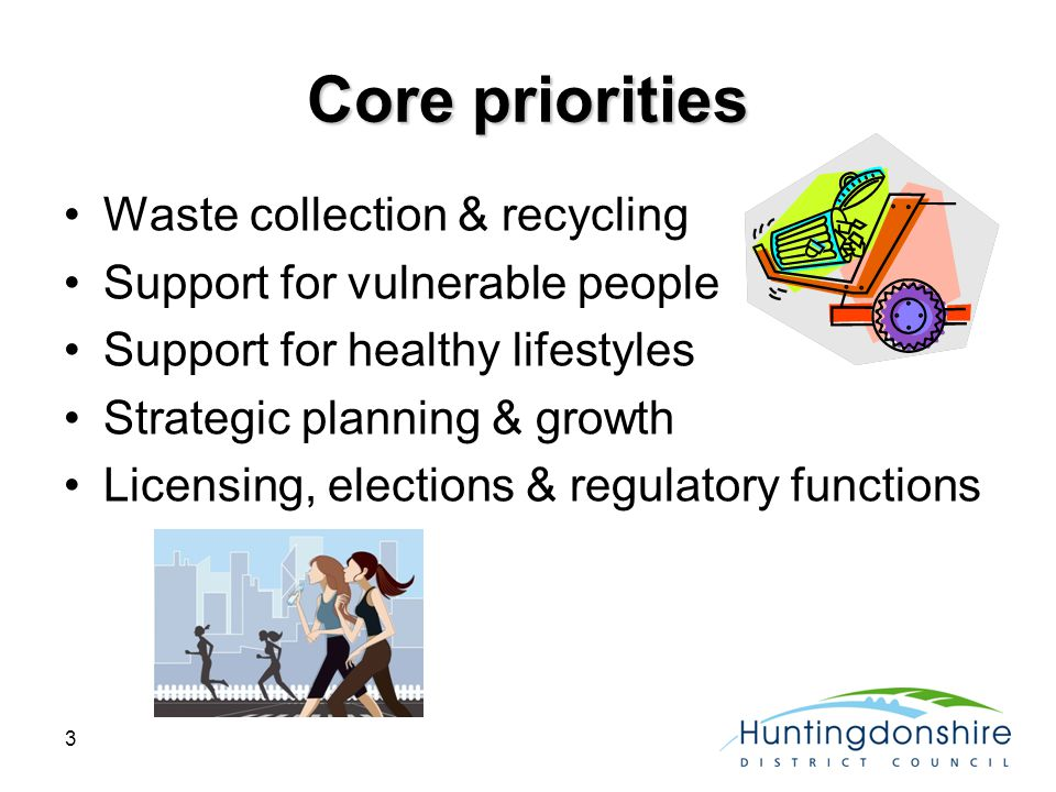 3 Core priorities Waste collection & recycling Support for vulnerable people Support for healthy lifestyles Strategic planning & growth Licensing, elections & regulatory functions
