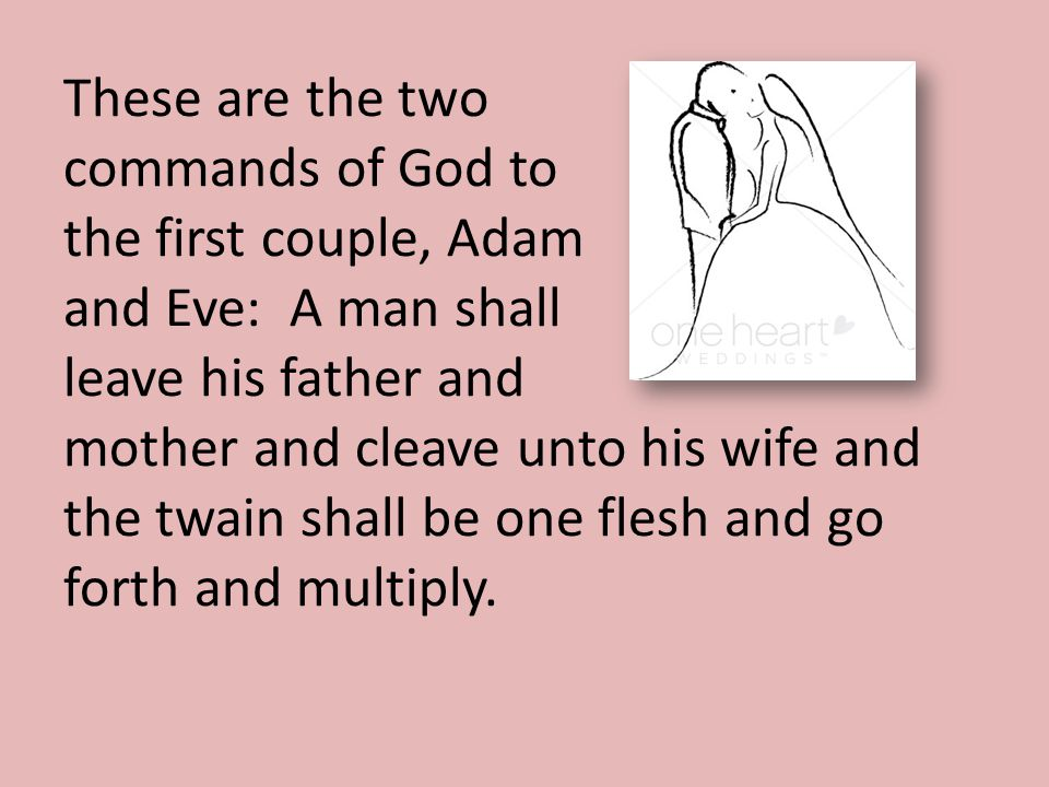 These are the two commands of God to the first couple, Adam and Eve: A man shall leave his father and mother and cleave unto his wife and the twain shall be one flesh and go forth and multiply.