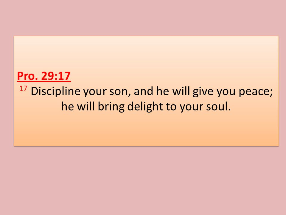 Pro. 29:17 17 Discipline your son, and he will give you peace; he will bring delight to your soul.