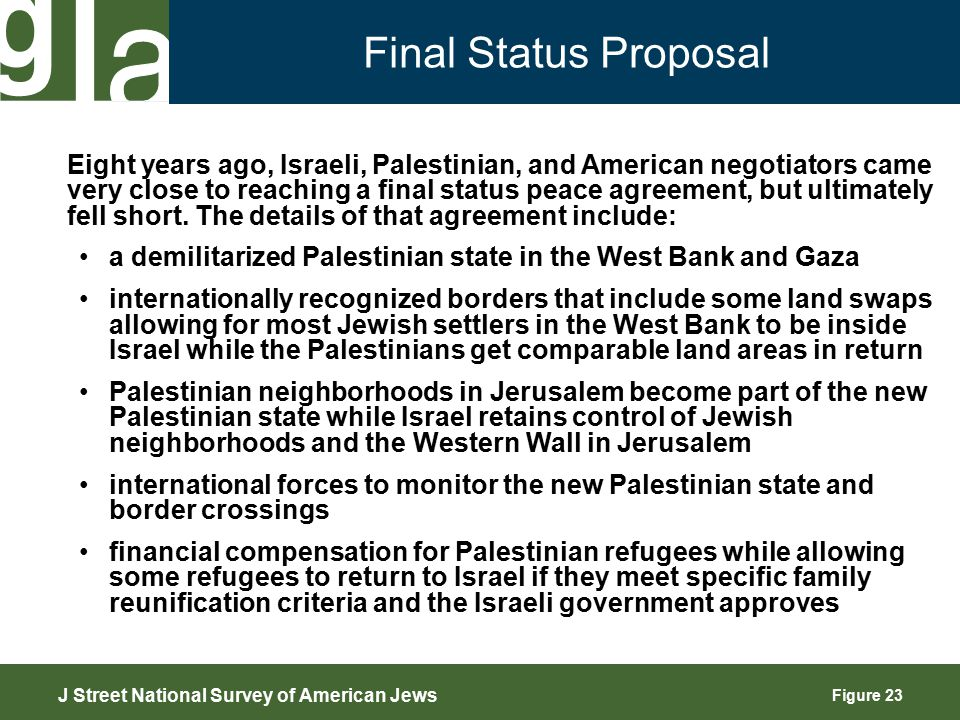 Figure 23 Final Status Proposal J Street National Survey of American Jews Eight years ago, Israeli, Palestinian, and American negotiators came very close to reaching a final status peace agreement, but ultimately fell short.