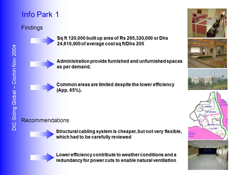 Findings Recommendations DIC Going Global – Cochin Nov 2004 Info Park 1 Sq ft 120,000 built up area of Rs 295,320,000 or Dhs 24,610,000 of average cost sq ft/Dhs 205 Administration provide furnished and unfurnished spaces as per demand.