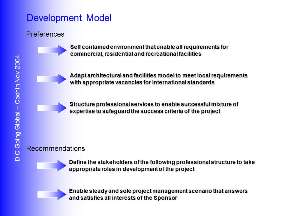 Preferences Recommendations DIC Going Global – Cochin Nov 2004 Development Model Self contained environment that enable all requirements for commercial, residential and recreational facilities Adapt architectural and facilities model to meet local requirements with appropriate vacancies for international standards Structure professional services to enable successful mixture of expertise to safeguard the success criteria of the project Define the stakeholders of the following professional structure to take appropriate roles in development of the project Enable steady and sole project management scenario that answers and satisfies all interests of the Sponsor