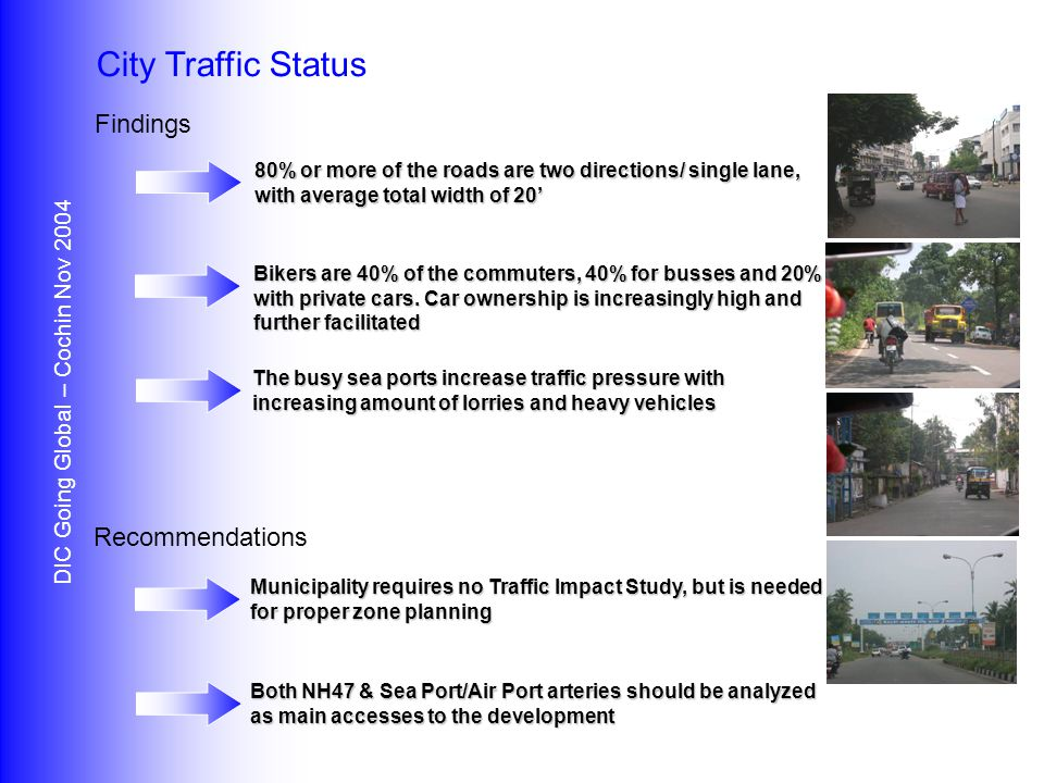 Findings Recommendations DIC Going Global – Cochin Nov 2004 City Traffic Status 80% or more of the roads are two directions/ single lane, with average total width of 20' Bikers are 40% of the commuters, 40% for busses and 20% with private cars.