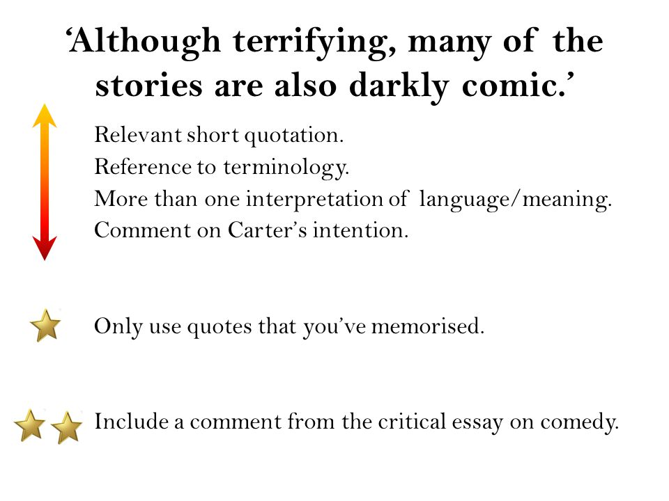 'Although terrifying, many of the stories are also darkly comic.' Relevant short quotation. Reference to terminology. More than one interpretation of