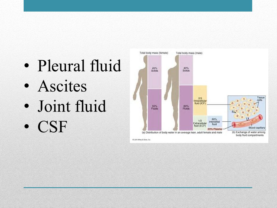 Pleural fluid Ascites Joint fluid CSF