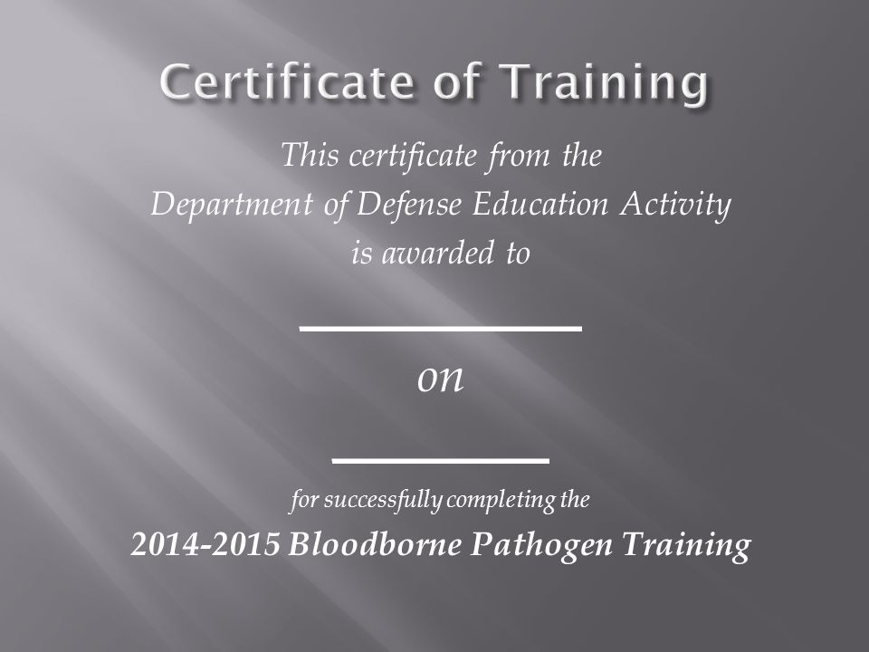 This certificate from the Department of Defense Education Activity is awarded to _____________ on __________ for successfully completing the 2014-2015