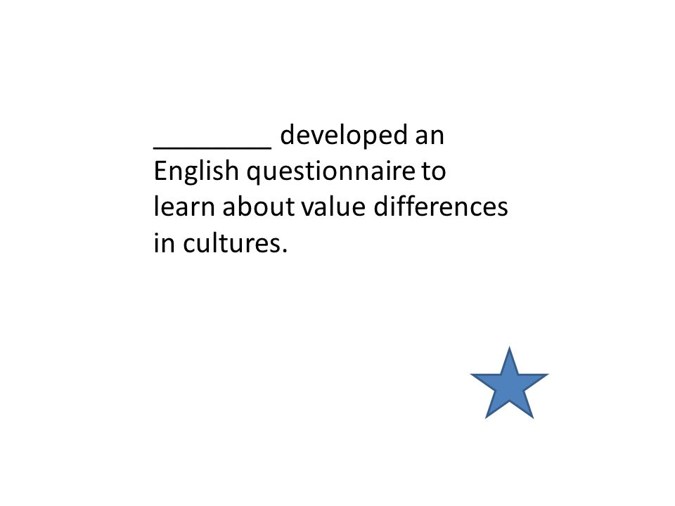 ________ developed an English questionnaire to learn about value differences in cultures.