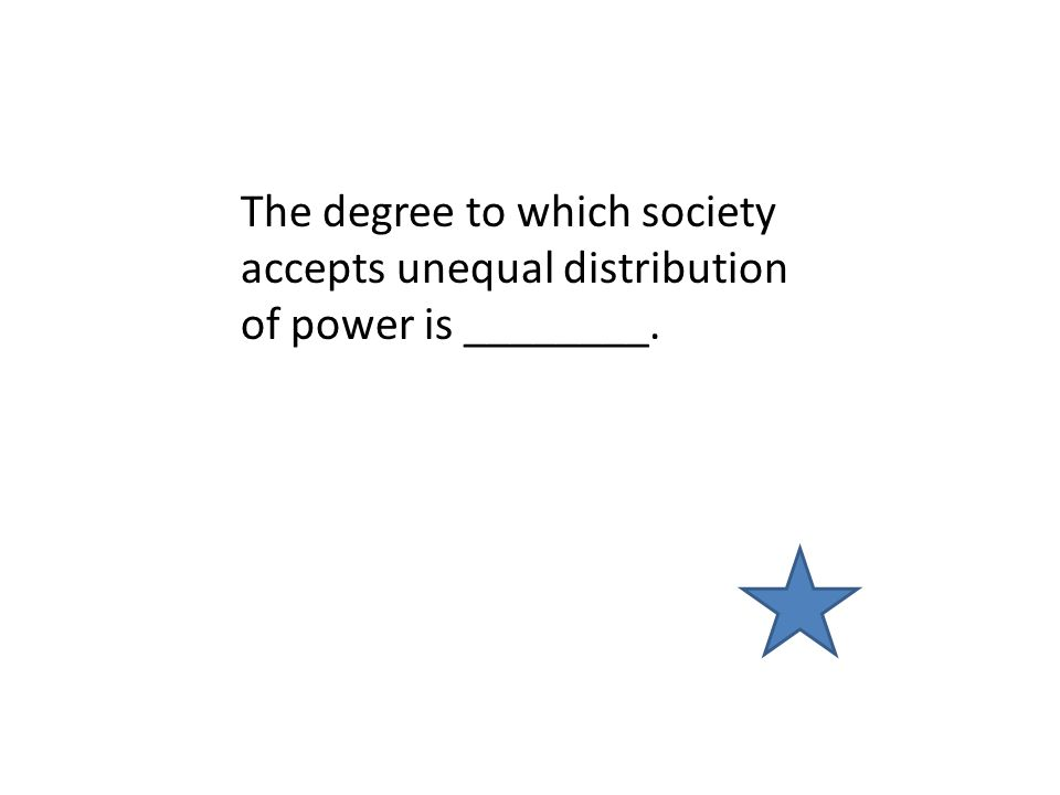 The degree to which society accepts unequal distribution of power is ________.
