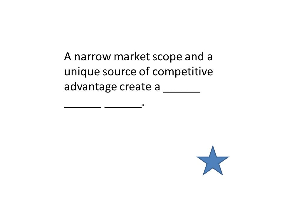 A narrow market scope and a unique source of competitive advantage create a ______ ______ ______.