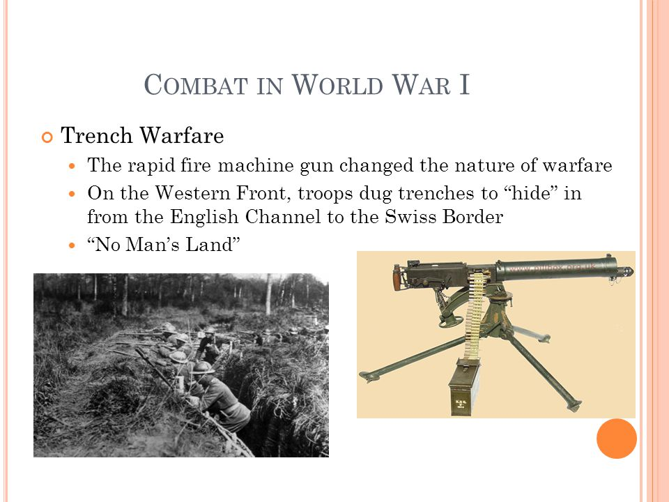 C OMBAT IN W ORLD W AR I Trench Warfare The rapid fire machine gun changed the nature of warfare On the Western Front, troops dug trenches to hide in from the English Channel to the Swiss Border No Man's Land